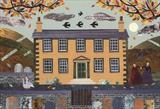 Autumn Evening, Haworth Parsonage (with geese) by amanda white, Painting, Cut Paper Collage ©Amanda White
