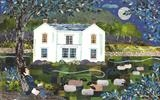 Full Moon over Allan Bank, Grasmere by amanda white, Painting, Cut Paper Collage ©Amanda White