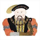 Henry VIII by amanda white, Illustration, Cut Paper Collage ©Amanda White