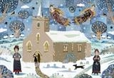 Jane and Cassandra Austen Walking to Steventon Church ... by amanda white, Painting, Cut Paper Collage