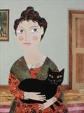 Morning Caller: Lady with a Cat by amanda white, Painting, Cut Paper Collage ©Amanda White