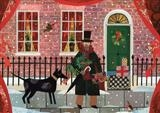 Mr Dickens and his Dog in Doughty Street, Christmas Eve by amanda white, Painting, Cut Paper Collage ©Amanda White
