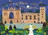 Night Visitors, Newstead Abbey by amanda white, Painting, Cut Paper Collage ©Amanda White