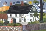Night and Day, Monk's House, Rodmell by amanda white, Painting, Cut Paper Collage ©Amanda White