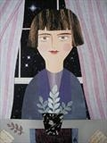 Portrait of Katherine by amanda white, Painting, Cut paper collage on paper
