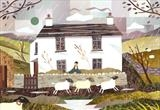Sheep and Storm, Dove Cottage, Grasmere by amanda white, Painting, Cut Paper Collage ©Amanda White