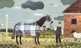 The Flying Scotsman on Newmarket Heath by amanda white, Painting, Cut paper collage on paper