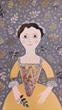 The Yellow Dress by amanda white, Painting, Cut Paper Collage on Paper
