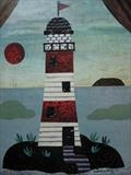 To the Lighthouse by amanda white, Painting, Cut paper collage
