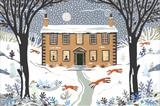 Winter Foxes, Haworth Parsonage by amanda white, Painting, Cut Paper Collage ©Amanda White