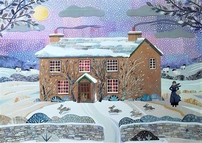 Miss Potter's First Hill Top Winter by amanda white, Painting, Cut Paper Collage ©Amanda White