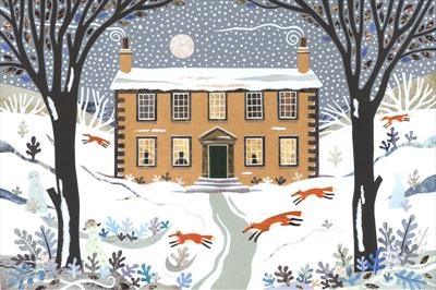 Winter Foxes, Haworth Parsonage by amanda white, Giclee Print, Giclee Print